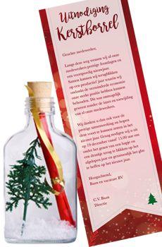 Flessenpost - Originele uitnodigingen voor kerstfeest en nieuwjaarsfeest............ #originele #uitnodiging #diy #invitations #event #personeelsfeest #kerstfeest #zakelijk #personaliseren #nieuwjaar