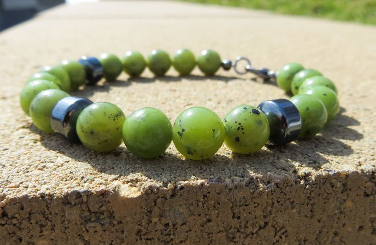 Jade beads look like they have little black freckles - cute! Check it out and other gemstone jewelry at my shop BCGemstoneDesign on Etsy.  #jade #hematite #etsy #jewelry #boho #minimalist #freckles