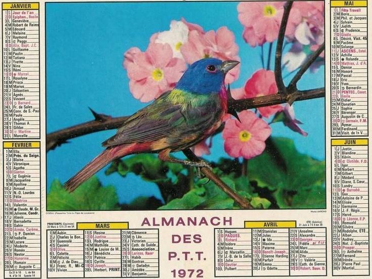 Almanach des P.T.T 1972 .. j avais 10 ans ! ... ( 2014 )
