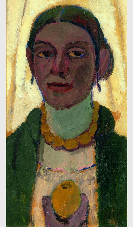 ♀ Painted Art Portraits ♀ Paula Modersohn-Becker | Self-Portrait with Lemon, 1906-7
