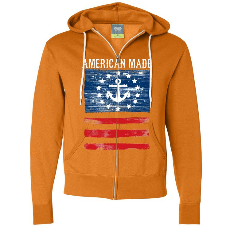 New USA Nautical Anchor Flag Zip-Up Hoodie