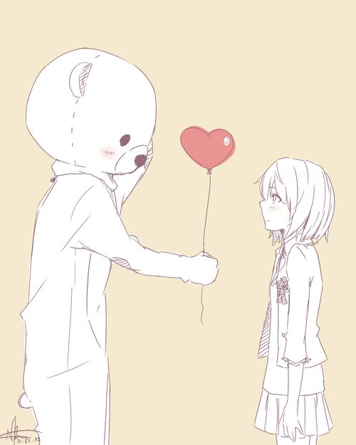 Manga girl with a sweet bear ( ´ ▽ ` )ノ
