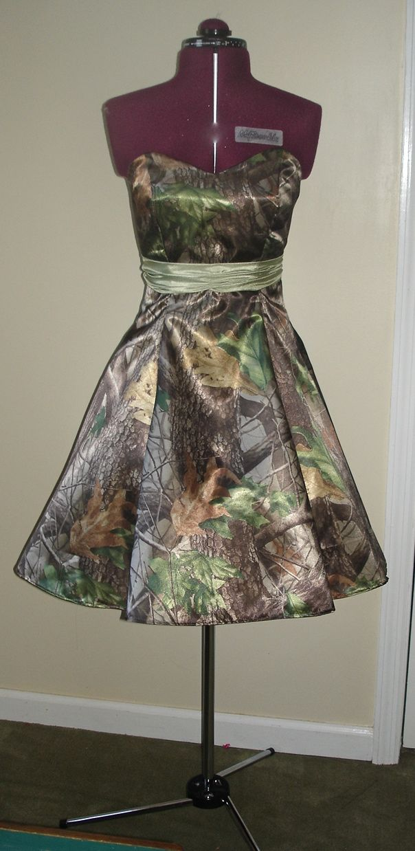I would live this in full length! [I just made this very cute camo dress from Realtree Hardwoods Green HD Satin.  Sweetheart neckline With Ruched Sash FULL skirt with attached Petticoat Great for a Homecoming dance! This dress (& others can be found on Ebay) ]