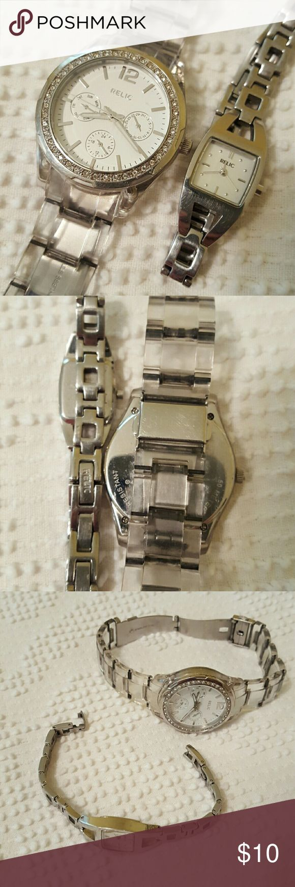 ⌚Relic watch lot⌚ Both need batteries. Wear to both. Everything worked as far as I can remember. Relic Jewelry