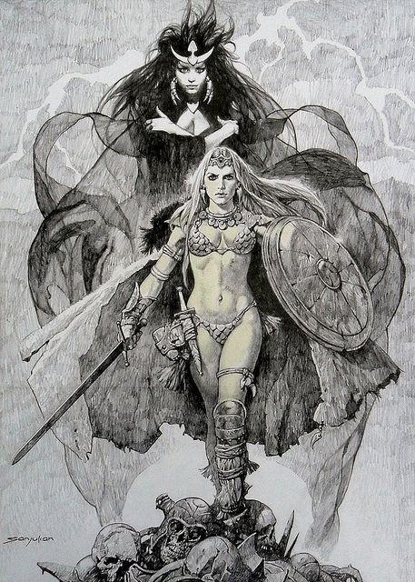 Sanjulian - Red Sonja and the goddess Scathach by myriac, via Flickr | Click through for a larger image
