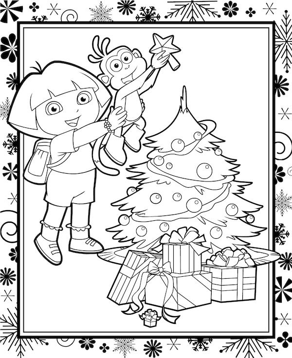 free christmas coloring pages dora the explorer and boots