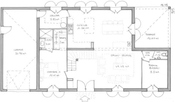 bastide plans   Construction maison individuelle de 7 pièces et 5 chambres sur le ...