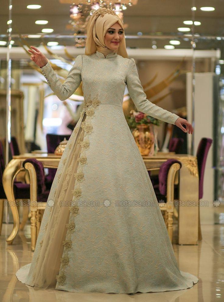 Jacquard Evening Dress - Mint - Minel Ask