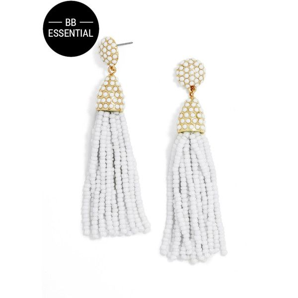 BaubleBar Pinata Tassel Drops ($36) ❤ liked on Polyvore featuring jewelry, earrings, beaded tassel earrings, beaded earrings, tassle earrings, beading jewelry and tassel earrings