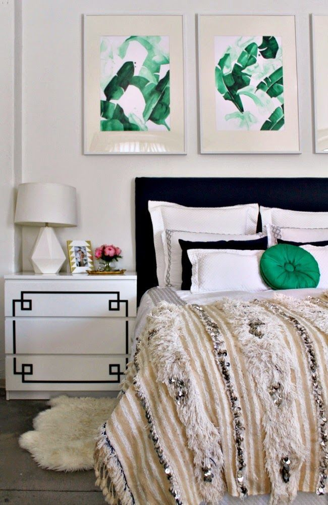 Black, white and emerald bedroom. Framed watercolor palm prints