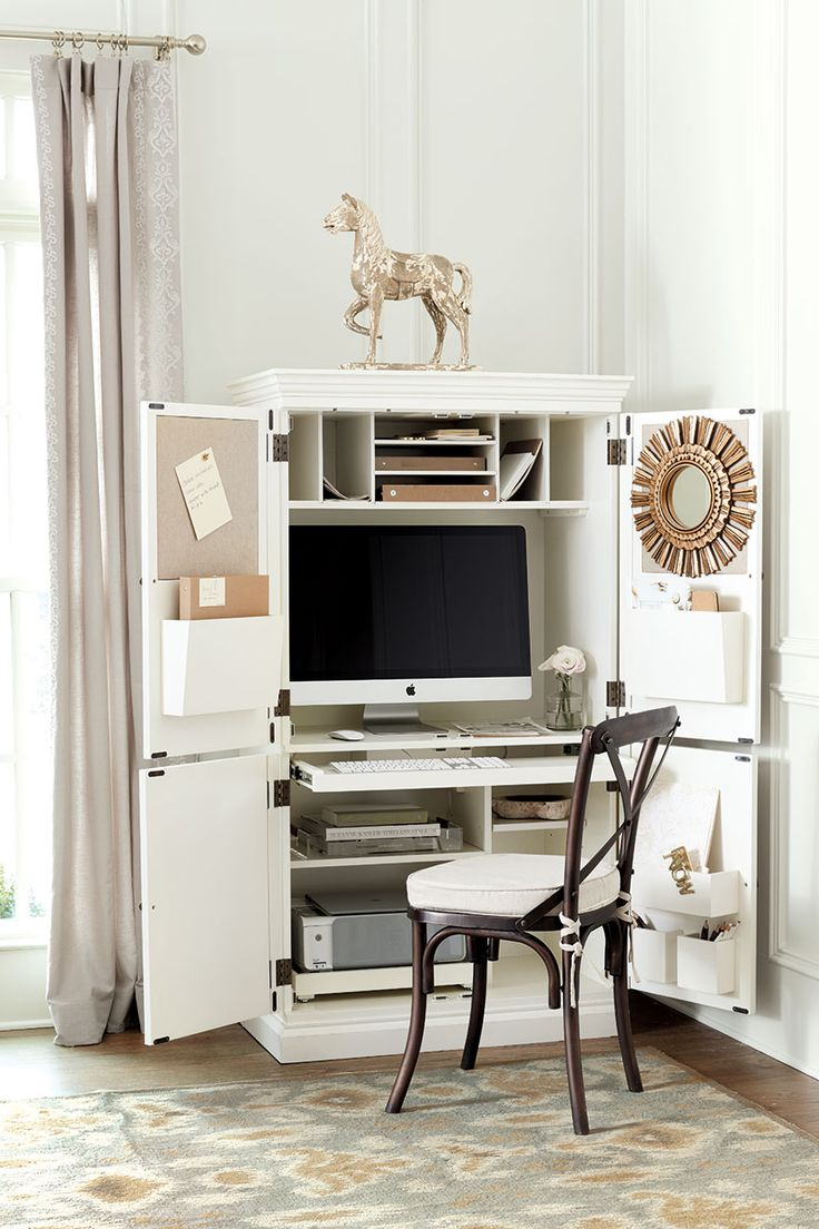 ballard designs audrey workstation has built in bulletin boards adjustable cubbies printer pull out - Ballard Design Desks