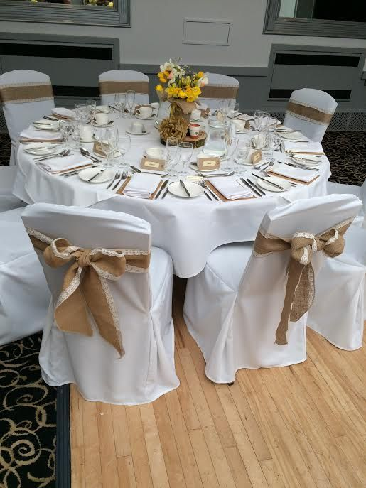 hessian bowed sashes