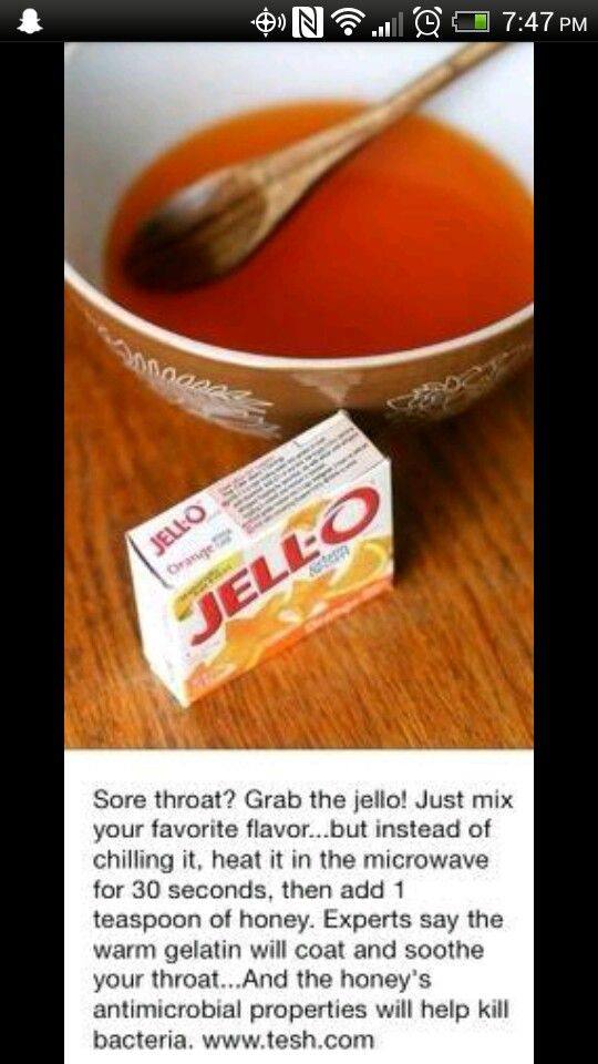 Warm jello for sore throat