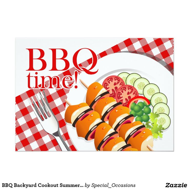 """BBQ Backyard Cookout Summer Party Card Perfect fun invite for summery family reunions, cookouts, picnics and barbeques! Use the orange """"Customize It"""" button above to add your own text. Email me at <>cheryl@cheryldanielsart.com for help or special requests."""