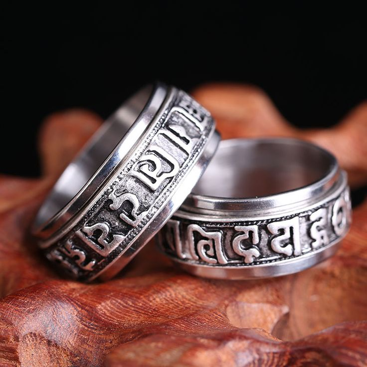 Vintage personality Om mani padme hum Lucky metal Tail Ring Mens Jewelry Rotatable Domineering male ring J003
