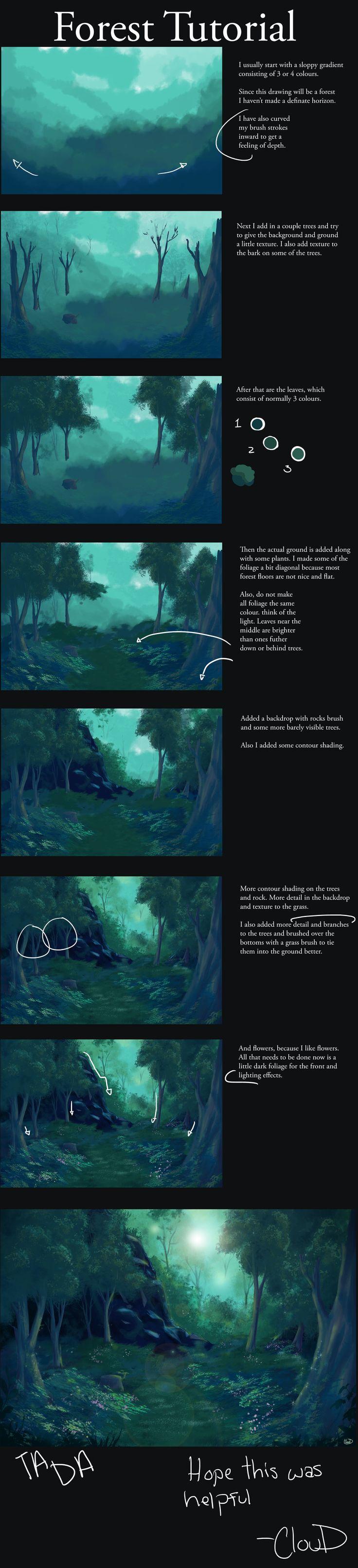 Forest tutorial by Aniplay.deviantart.com on @deviantART
