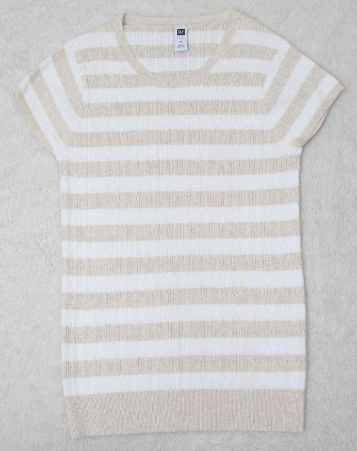Gap Tee Shirt XL Beige White Short Sleeve Cotton Blend Striped Crewneck Womens #Gap #BasicTee