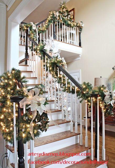 Las 18 mejores im genes sobre navidad decoraci n de escaleras en pinterest - Decoration escalier noel ...