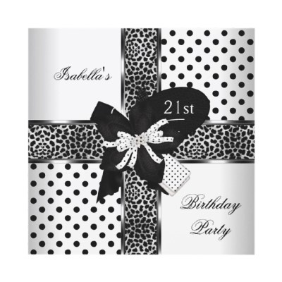 21st Birthday Party Leopard Black White Spot Personalized Announcements by Zizzago.com
