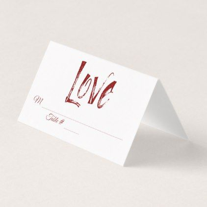 Love Typography Red Wedding Reception Place Cards - simple clear clean design style unique diy
