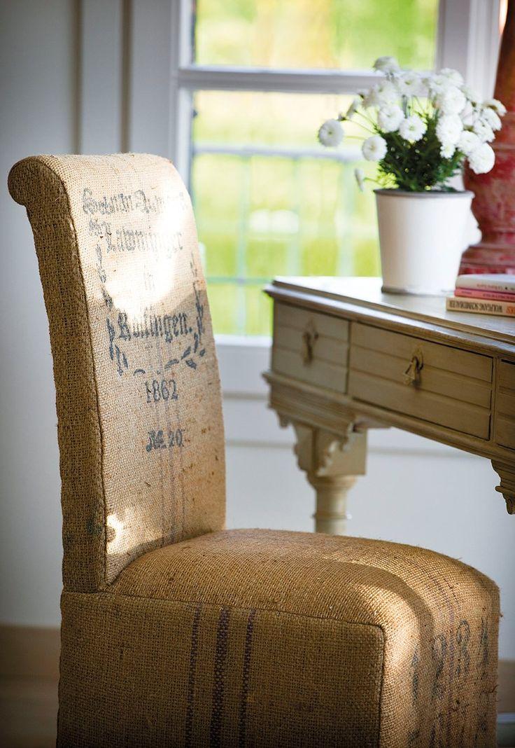 Un aire vintage me gusta decorar con muebles y telas de - Tela de saco ...