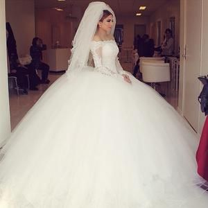 Off-the-shoulder Lace Long Sleeves Organza Wedding Dresses Ball Gowns