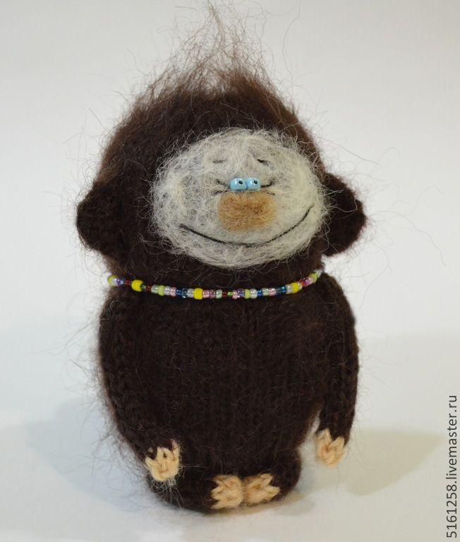 Купить Обезьянка (вязаная игрушка / амигуруми/ вязание спицами) - коричневый, бежевый цвет, шоколадный