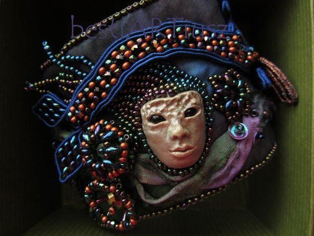 BestiARTiusz; unique jewelry; silk & soutache bracelet with mask OOAK