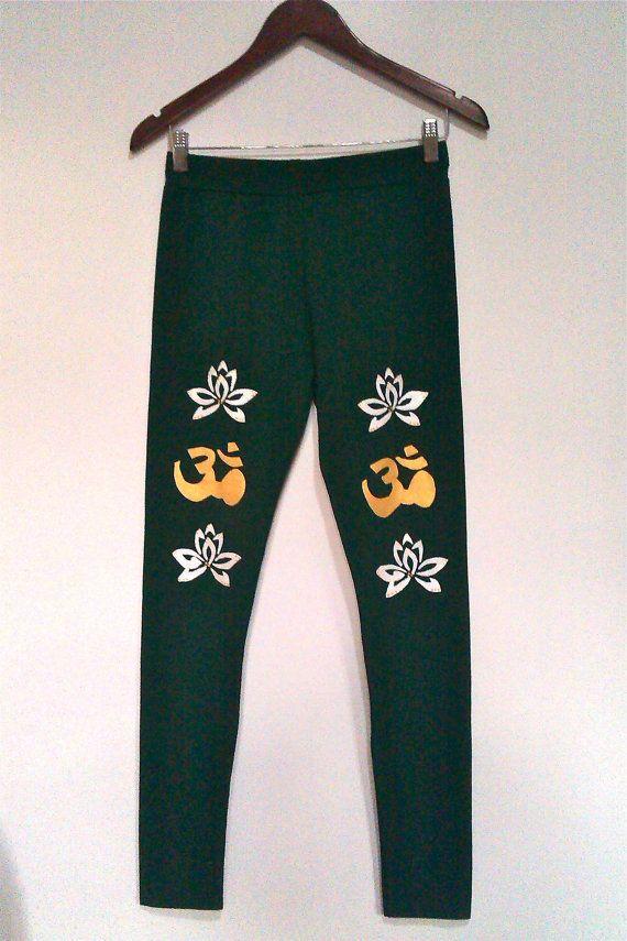 SALES  Green leggings  Om sign  Handmade cotton by COOLLeggings