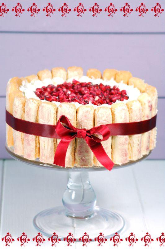 Kessy's Pink Sugar: Schneeweißchen und Rosenrot Torte - Granatapfel-Charlotte