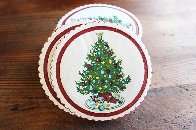 アメリカンビンテージ雑貨、アンティーク雑貨、昔々のクリスマスツリーのペーパーコースター。新品未使用品。ペーパーにエンボス加工です。なかなか良い作りです。アメリカ製、36枚入り。