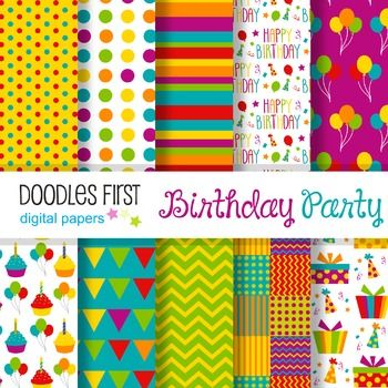 """Digital Paper - Birthday Party great for Classroom art projectsSize: 12""""x12""""File Format: JPG at 300dpiIncludes 10 papersTerms of Use: All free and paid clip arts graphics or digital papers may be used for personal and/or commercial use, in the following ways: Classroom Printables, Party Printables; Cards and Invitations; Classroom Crafts; Lesson Plans; Scrapbooking, Photography, Stickers; T-shirt Prints; Vinyl Cutting or Decals; Embroidery and more. $3.00"""