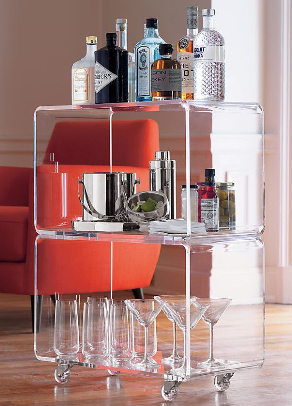 More Acrylic Furniture Finds for a Sleek Style Bar Cart Styling Ideas #barcart #barware