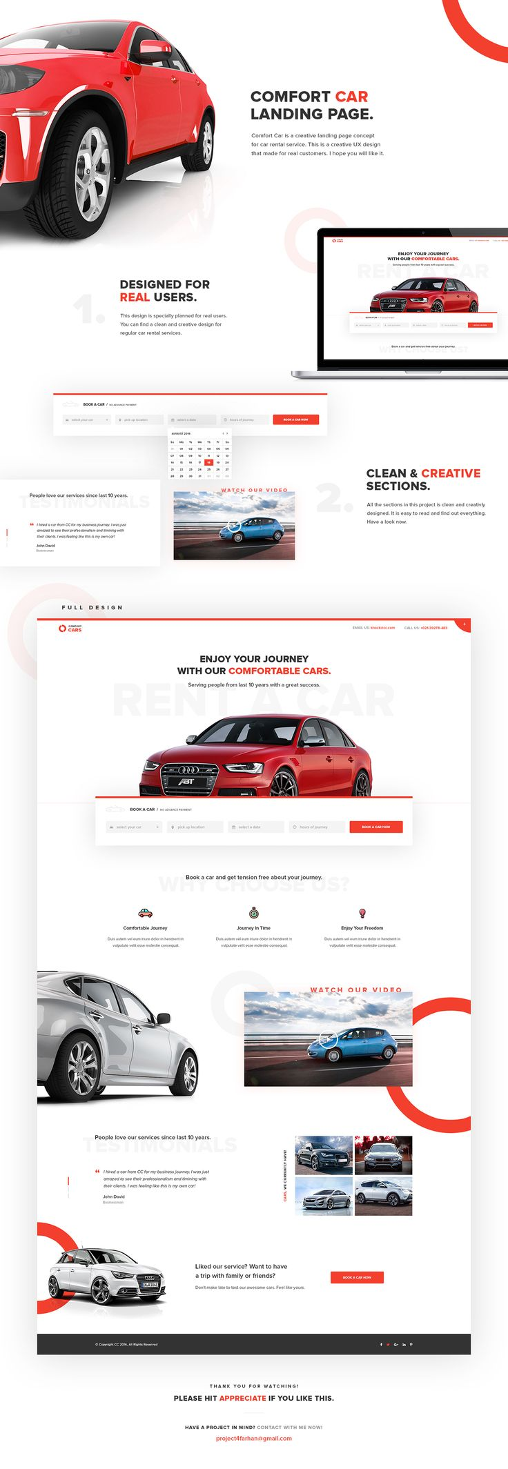 Comfort Car is a creative landing page concept for car rental service. This is a creative UX design that made for real customers. I hope you will like it.