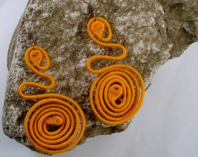 Earrings SUN yarn-wrapped earrings/yellow fire/cooper wire/100% cotton