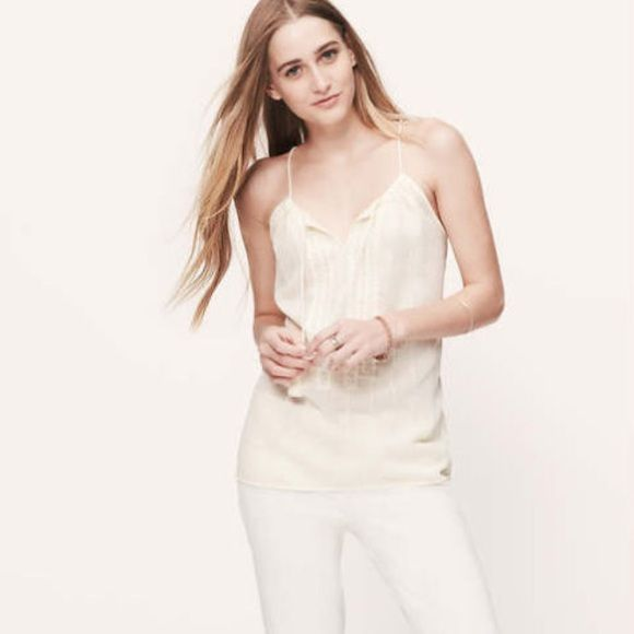 Light weight beige cami blouse Semi translucent flowy rayon blouse, embroidered detail and lace-up collar LOFT Tops Camisoles