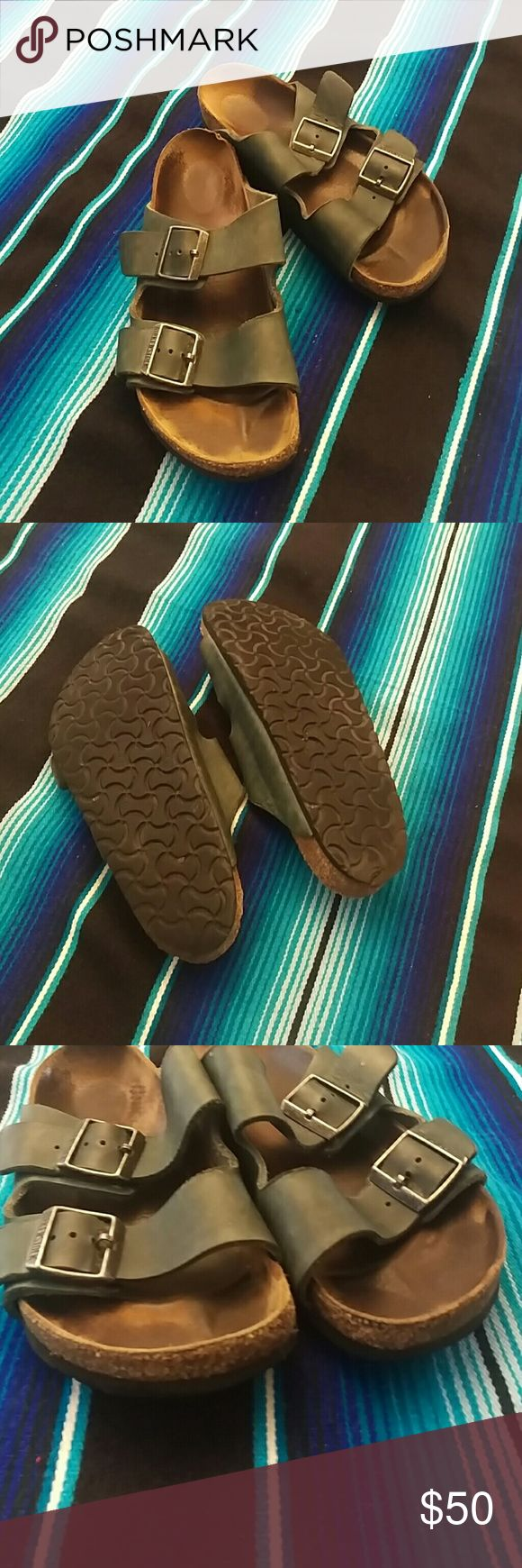 Vintage forest green birkenstocks Leather straps are in good shape. There is wear on the heel, shown in pictures.  Sole recently clean and leather condition. Birkenstock Shoes Sandals