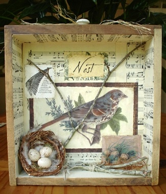 Sweet bird graphic and nest...love these shadow boxes