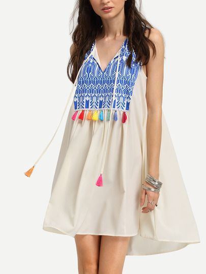 Multicolor Sleeveless Print Tassel Shift Dress, cute dresses for summer. Only $19.99. Tap this picture to view more details.