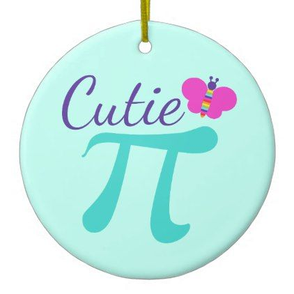 Cutie Pi Symbol Math Pun Ceramic Ornament - home gifts ideas decor special unique custom individual customized individualized