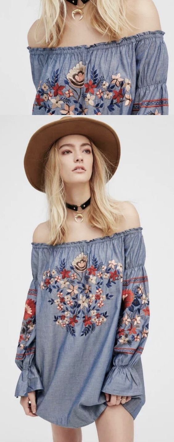 ❤️ A Boho Embroidery Tunic Dress is now available at $45 from Pasaboho. This off shoulder tunic exhibit unique design with floral embroidered patterns. ❤️ Available for Wholesale and Retail. :: boho fashion :: gypsy style :: hippie chic :: boho chic :: outfit ideas :: boho clothing :: free spirit :: fashion trend :: embroidered :: flowers :: floral :: lace :: summer :: fabulous :: love :: street style :: fashion style :: boho style :: bohemian :: modern :: tribal :: boho bag :: embroidery dress - Embroidery World