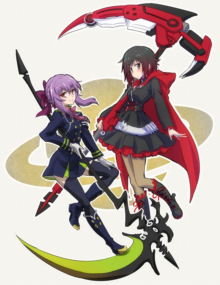 Ruby Rose of RWBY and Shinoa Hīragi of Seraph of the End. Both are voiced by Saori Hayami. By いえすぱ