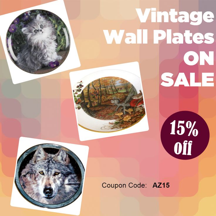 15% Discount on vintage wall plates at Tucson Tiques Collectibles. Good thru 1/31/2018. Use code AZ15 at checkout! #sale #vintageplates #wallplates #bigsale #tucson #collectibles
