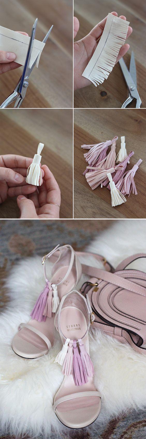 Adorn strappy sandals with interchangeable tassels. DIY Tassel Sandals.:
