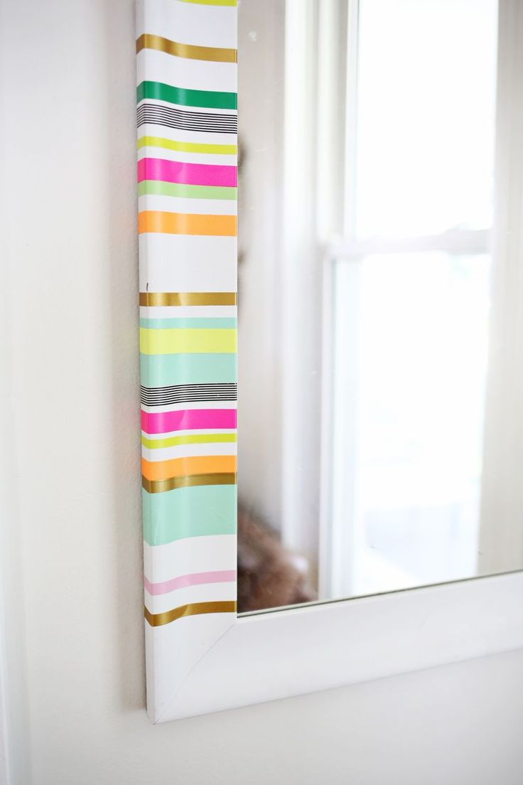 diy washi tape stripes! easy way to add color to a boring mirror