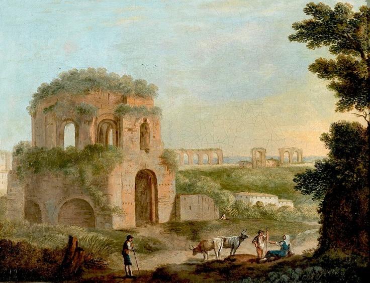 Paolo Anesi - Veduta con il Tempio di Minerva Medica e un acquedotto.