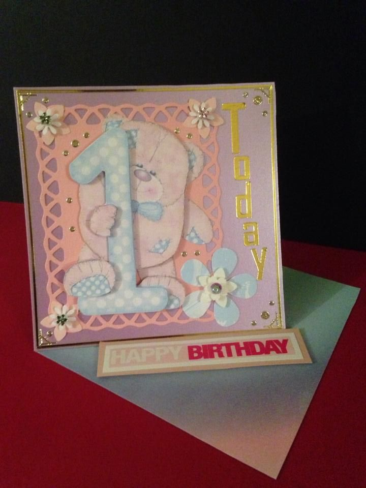 "1st Birthday Girl Twisted Easel Card. Size is 6""x 6""."