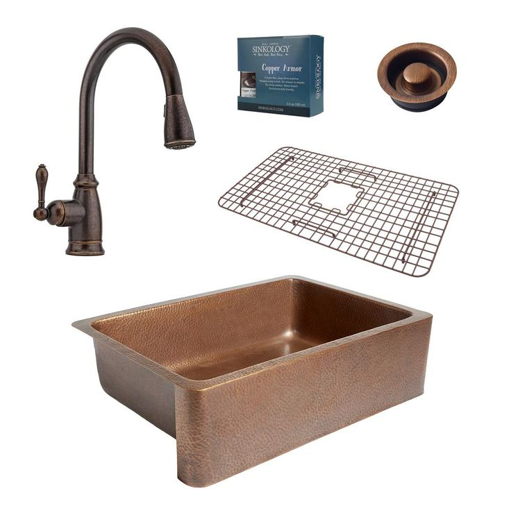 Pfister All-In-One Adams 33 in. Farmhouse Copper Kitchen Sink Combo with Rustic Bronze Faucet and Disposal Drain, Antique Copper