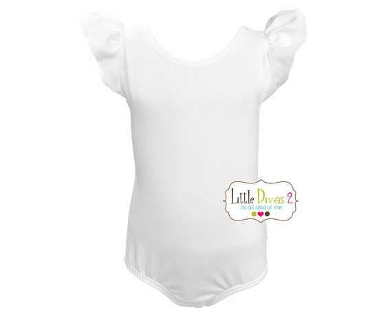 WHITE LEOTARD Child Flutter/Ruffle Sleeve Leotard