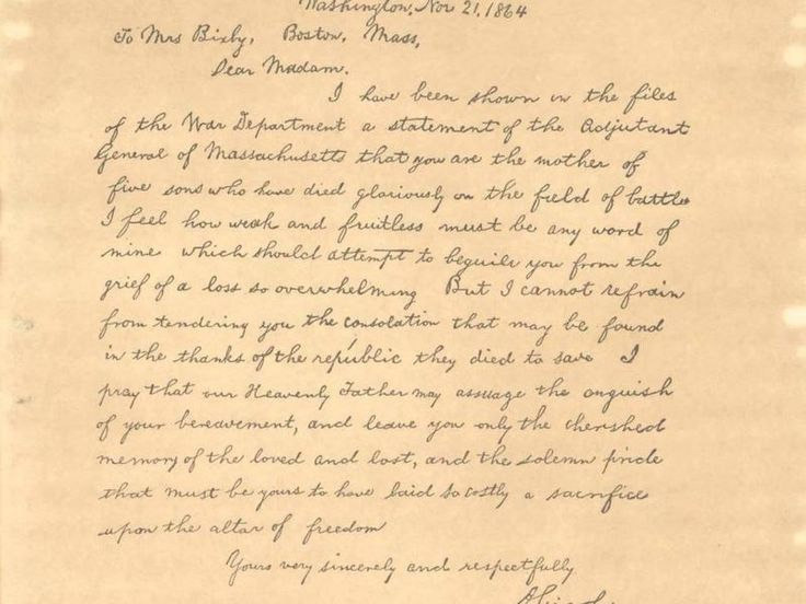 famous letters in history bixby letter on abraham lincoln who was 21658